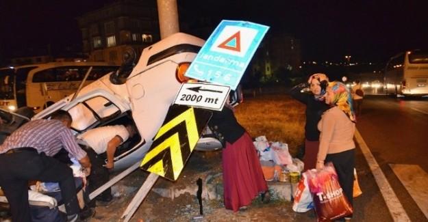 Şehit cenazesine giden aile kaza geçirdi: 5 yaralı