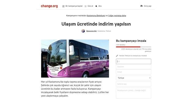 Ulaşım zammına Change.org'lu tepki