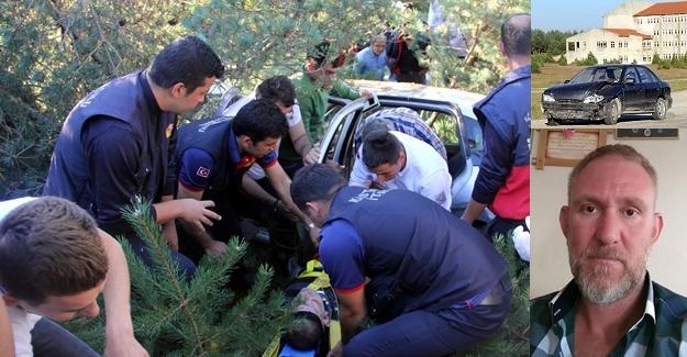 Otomobil ormanlık alana uçtu: 1 ölü, 2 yaralı