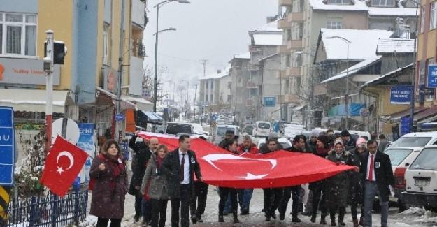 Terör saldırısı Pınarbaşı'da protesto edildi